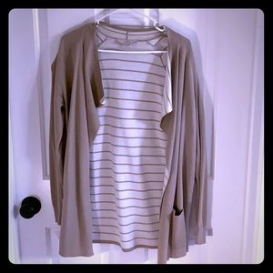 Brown and white striped cardigan - small
